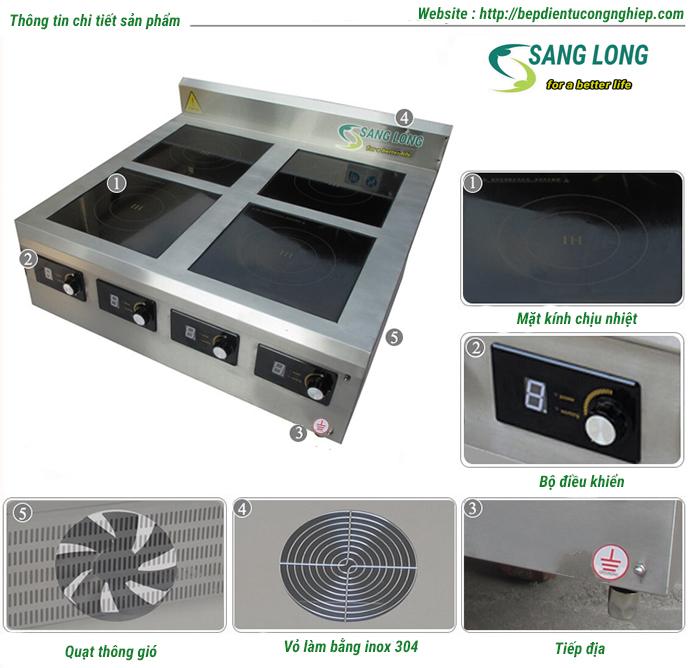 Chi tiết bếp từ công nghiệp 4 x 5kw